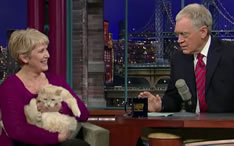 Dave Letterman show with Cat Massage lady